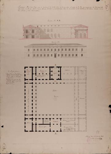 Planta, alzado de la fachada principal y sección AB de una casa colegio para la enseñanza de 60 niñas