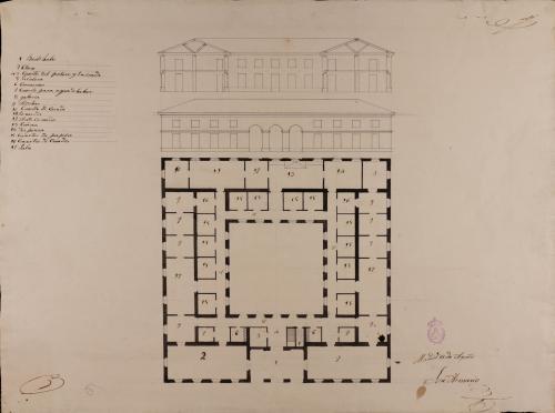 Planta baja, alzado de la fachada principal y sección de una escuela de primera educación