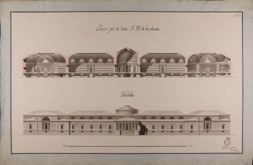 Alzado de la fachada principal y sección AB de una biblioteca real