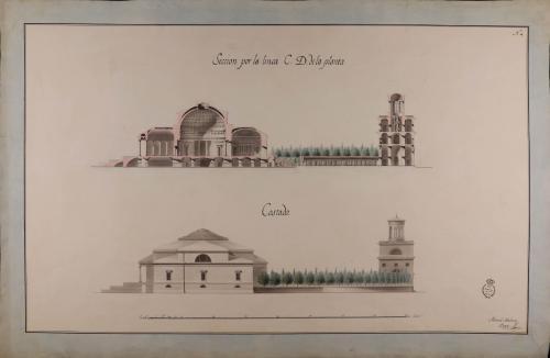 Alzado de la fachada lateral y sección CD de una biblioteca real