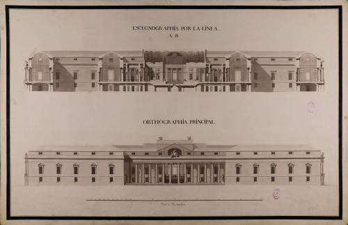 Alzado de la fachada principal y sección AB de una biblioteca pública