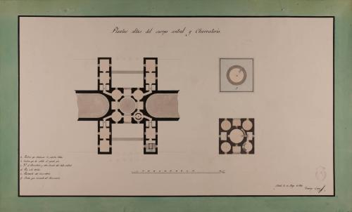 Planta del cuerpo central y del observatorio de una biblioteca pública para una capital