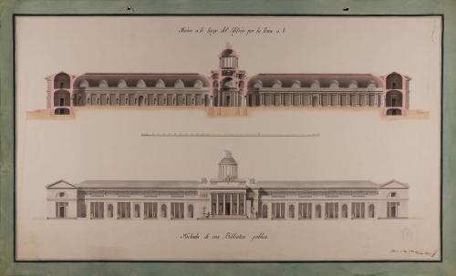 Alzado de la fachada principal y sección AB de una biblioteca pública para una capital