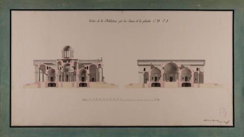 Secciones CD y EF. de una biblioteca pública para una capital