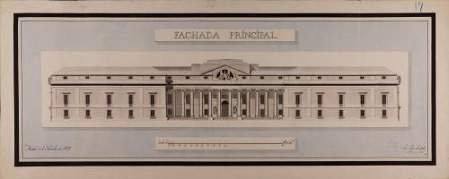 Alzado de la fachada principal de una biblioteca pública