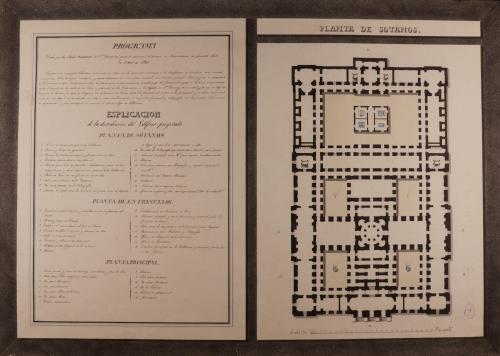 Planta de sótanos de una Real biblioteca para edificarse en la manzana 405, comprendida en la calle de la Bola, plazuela de la Encarnación y la bajada de Santo Domingo