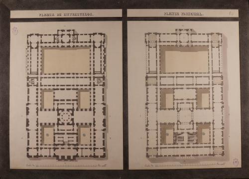 Plantas de entresuelo y principal de una Real biblioteca para edificarse en la manzana 405, comprendida entre la calle de la Bola, plazuela de la Encarnación y bajada de Santo Domingo