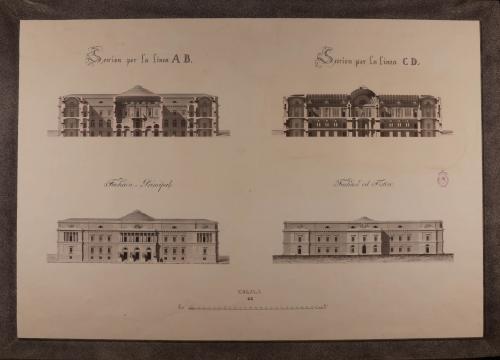 Alzado de las fachadas principal y posterior, y secciones AB y CD de una Real biblioteca para edificarse en la manzana 405, comprendida entre la calle de la Bola, plazuela de la Encarnación y bajada de Santo Domingo