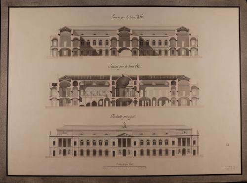 Alzado de la fachada principal y secciones AB y CD de una biblioteca pública