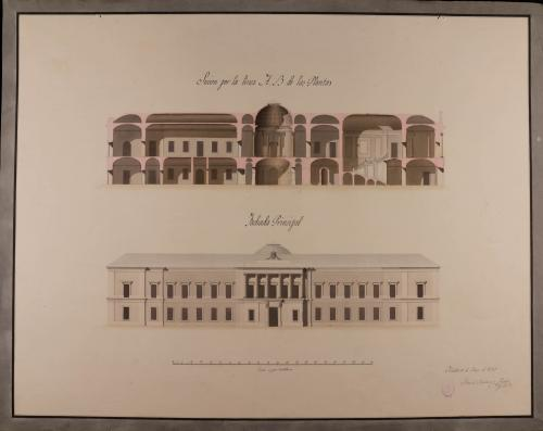 Alzado de la fachada principal y sección AB de una biblioteca para Madrid