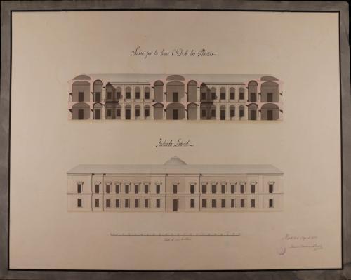 Alzado de la fachada lateral y sección CD de una biblioteca para Madrid