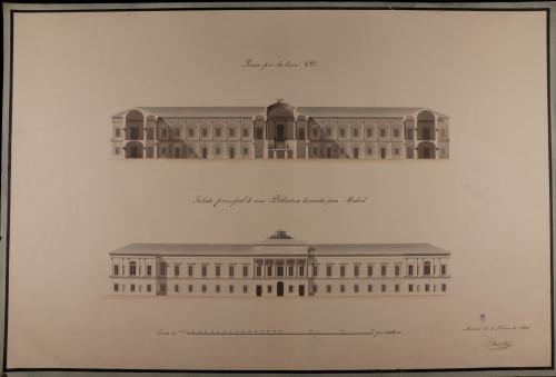 Alzado de la fachada principal y sección CD de una biblioteca para Madrid