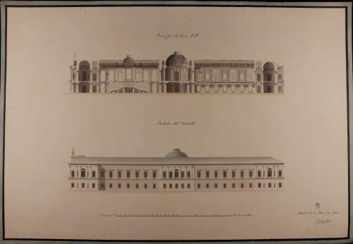 Alzado de la fachada lateral y sección AB de una biblioteca para MAdrid