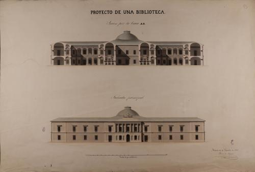 Alzado de la fachada principal y sección AB de una biblioteca naciona