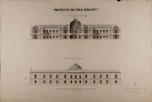 Alzado de la fachada lateral y sección CD de una biblioteca nacional