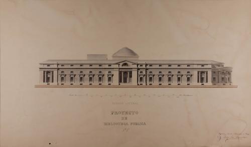 Alzado de la fachada lateral de una biblioteca pública