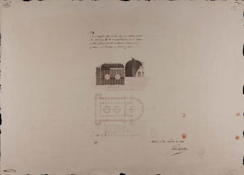 Planta y sección AB de una biblioteca nacional