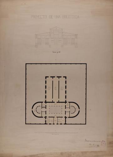 Planta y sección EJ de una biblioteca