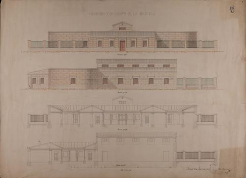 Alzado de las fachadas principal y lateral, y secciones AB, CD y GH de una biblioteca