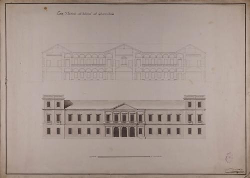Alzado de la fachada principal y sección de una cancillería