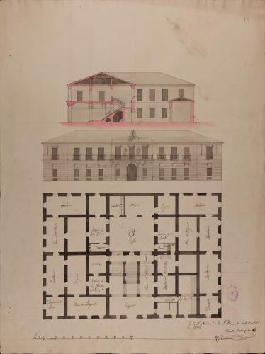 Planta principal, alzado de la fachada principal y sección de un Tribunal de Justicia