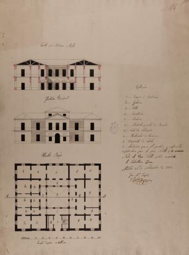 Planta baja, alzado de la fachada principal y sección AB de un Tribunal de Justicia