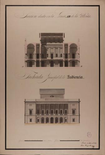 Alzado de la fachada principal y sección AB de una Audiencia para una capital de provincia