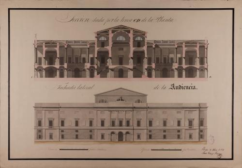 Alzado de la fachada lateral y sección CD de una Audiencia para una capital de provincia