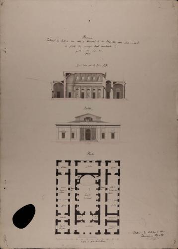 Planta, alzado de la fachada principal y sección BA de un Tribunal de justicia con sala y tránsito de los litigantes