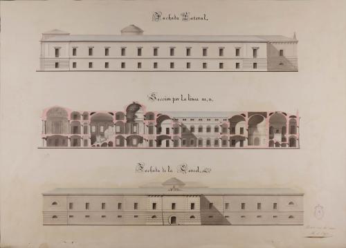 Alzado de las fachadas lateral y de la cárcel y sección mn