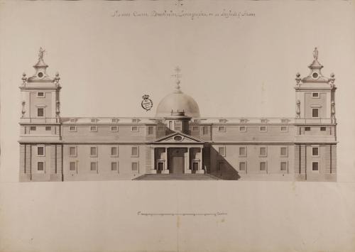 Alzado de la fachada principal de una cárcel con tribunal y juzgado para una corte, cancillería o pueblo populoso