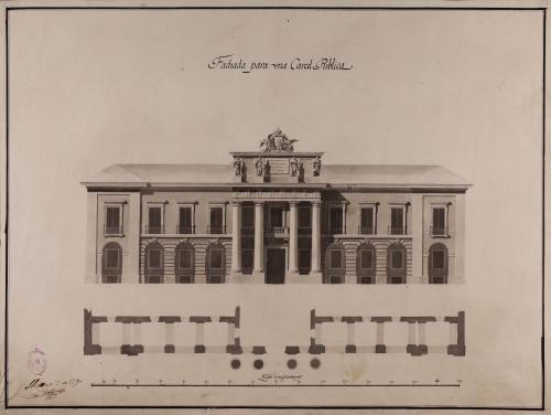 Planta y alzado de la fachada principal de una cárcel pública