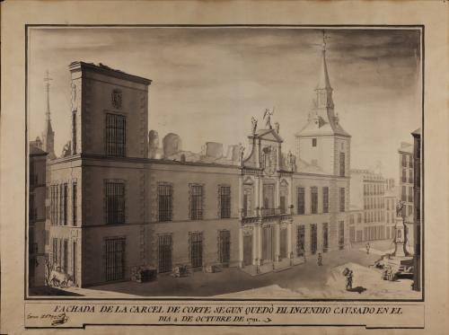 Alzado de la fachada principal de la cárcel de Corte según quedó después del incendio del día 4 de octubre de 1791