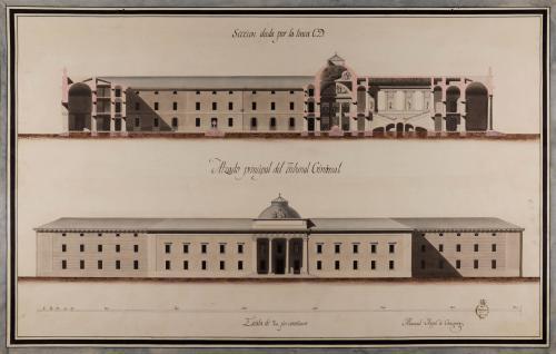 Alzado de la fachada principal del tribunal criminal y sección CD de una cárcel real con tribunal criminal para Madrid