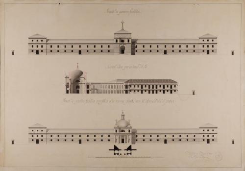 Dos alzados de la fachada principal, planta del pórtico del segundo alzado y sección AB