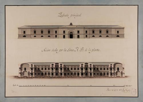 Alzado de la fachada principal y sección AB de una cárcel para una capital de provincia