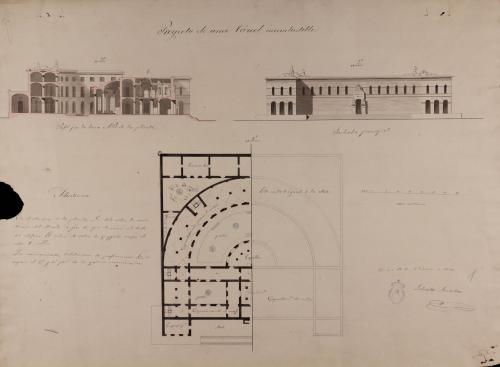 Planta, alzado de la fachada principal y sección AB de una cárcel incombustible