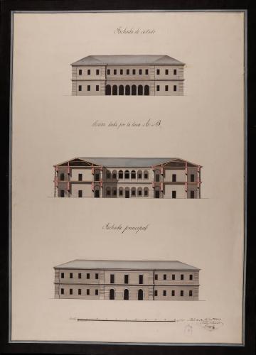 Alzado de las fachadas principal y lateral, y sección AB de una cárcel para una población de mil vecinos