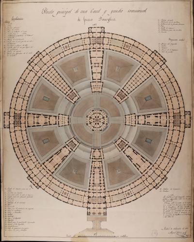 Planta principal de una cárcel y presidio correccional de forma panóptica