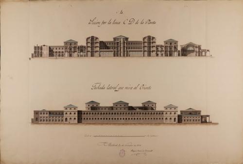 Alzado de la fachada lateral y sección CD de una cárcel civil y correccional en San Sebastián, para uso de las 191 provincias vascongadas