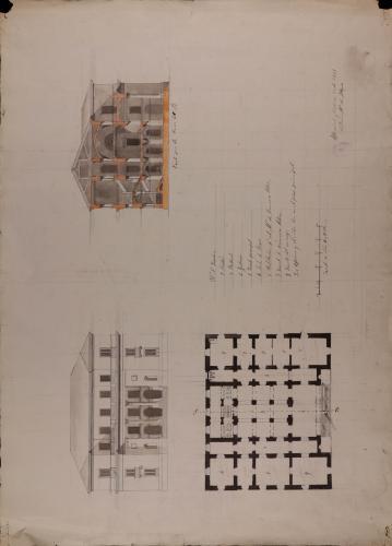 Planta, alzado de la fachada principal y sección AB de una casa consistorial para un pueblo de 250 vecinos, con cárcel y escuela de primeras letras