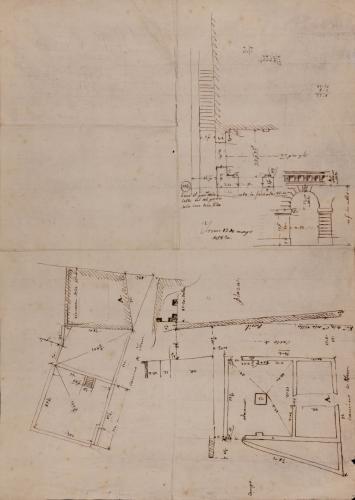 Apuntes de un plano topográfico, planta baja de la aduana y detalles del arco y cornisamento de una aduana en la plaza Constitucional de Irún