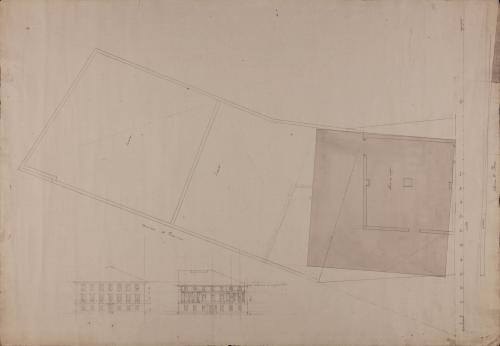 Plano topográfico y apunte del alzado de las fachadas de la aduana en la plaza Constitucional de Irún
