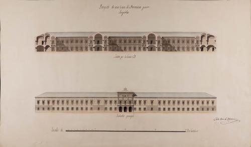 Alzado de la fachada principal y sección CD de una casa de provincia para Logroño