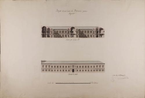 Alzado de la fachada lateral y sección AB de una casa de provincia para Logroño