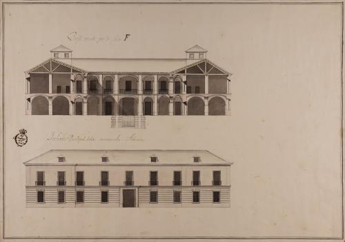 Alzado de la fachada principal y sección F de una aduana