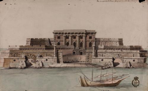 Alzado de la fachada principal de una aduana fortificada en un embarcadero.