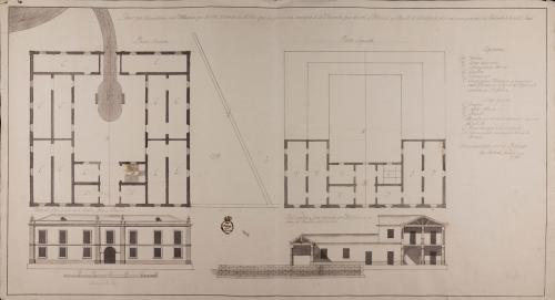 Plantas baja y principal, alzado de la fachada principal y sección de una aduana para el puerto de Cartagena.