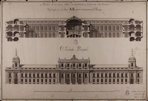 Alzado de la fachada principal y sección AB de una casa pública de contratación y comercio
