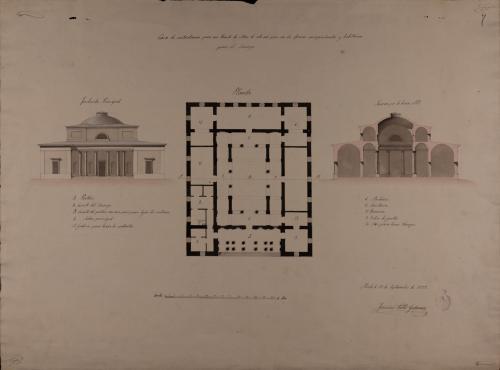 Planta, alzado de la fachada principal y sección AB de una casa de contratación para un puerto de mar